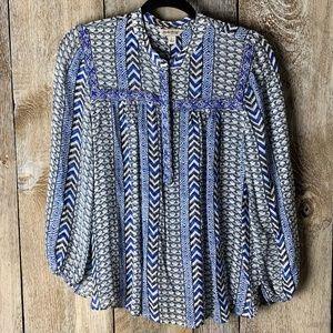 Lucky Blue Chevron Peasant Long Sleeve Boho Top